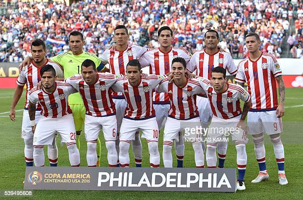 Players of Paraguay pose for pictures before the start of the Copa America Centenario football tournament match against the United States in...