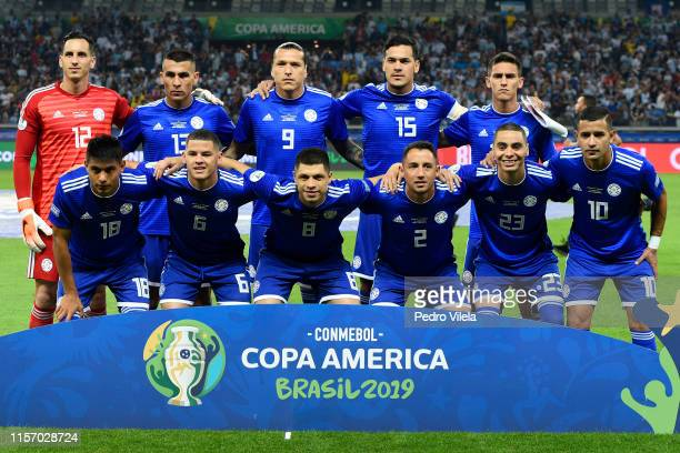 Players of Paraguay pose for the team photo prior to the Copa America Brazil 2019 group B match between Argentina and Paraguay at Mineirao Stadium on...