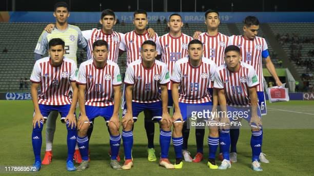 Players of Paraguay pose prior the FIFA U17 Men's World Cup Brazil 2019 group F match between Paraguay and Mexico at Valmir Campelo Bezerrao Stadium...
