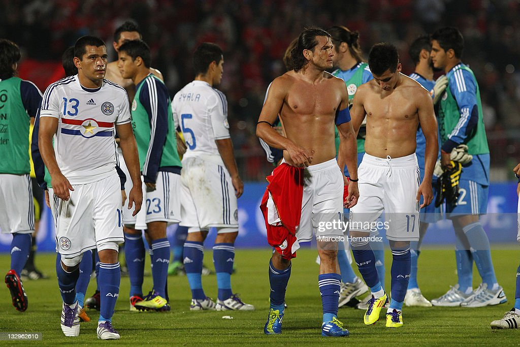 Players of Paraguay, reacts after loosing against Chile, during the match between Chile and Paraguay as part of the South American Qualifiers for Brazil 2014 FIFA World Cup on November 11, 2011 in Santiago, Chile.