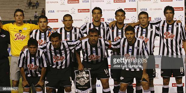 PLayers of Paraguay's Libertad pose for a photograph before a match against Blooming at Ramon Aguilera Costa Stadium on April 15 2010 in Santa Cruz...