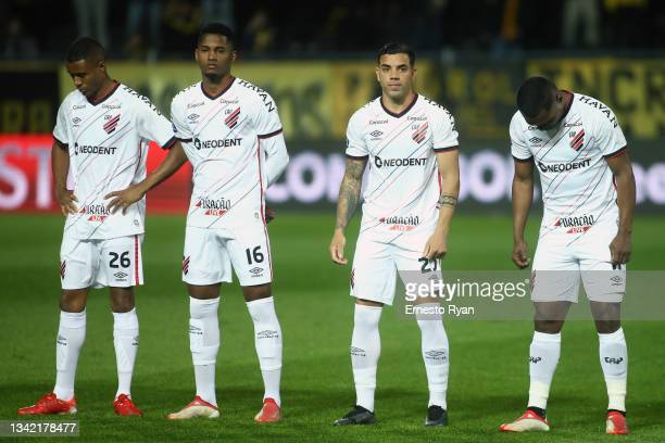 Players of Parananse line up prior to a semi final first leg match between Peñarol and Athletico Paranaense as part Copa CONMEBOL Sudamericana 2021...