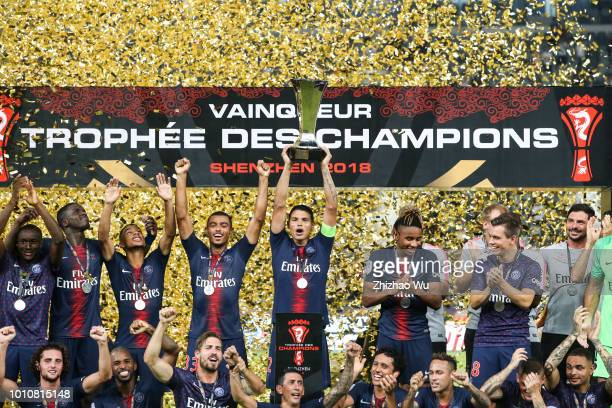Players of Paris Saint Germain attend award ceremony after the match between Paris Saint Germain and Monaco at Shenzhen Longgang Sports Center on...