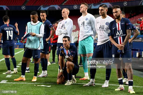 Players of Paris Saint Germain get upset at the end of the UEFA Champions League final football match between Paris Saint-Germain and Bayern Munich...