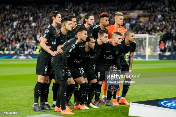 Players of Paris Saint Germain line up and pose for a photo prior to the UEFA Champions League 2017-18 Round of 16 match between Real Madrid vs Paris...