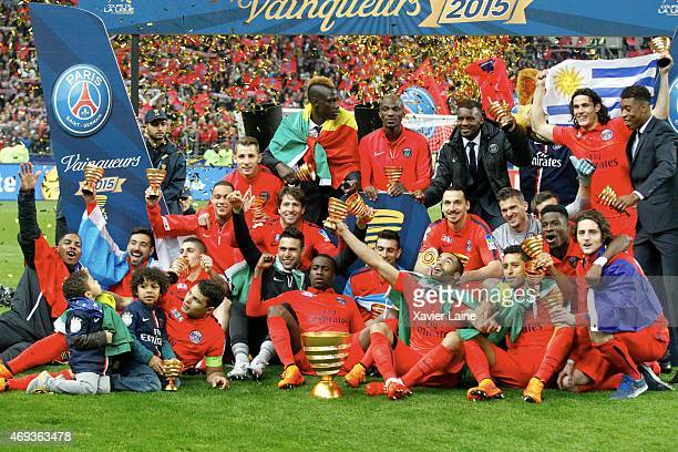 Players of Paris SaintGermain celebrate the victory after the French League Cup Final between Paris SaintGermain FC and SC Bastia at Parc Des Princes...