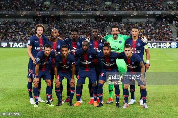 Players of Paris SaintGermain pose for team photos during the French Trophy of Champions football match between AS Monaco and Paris SaintGermain at...