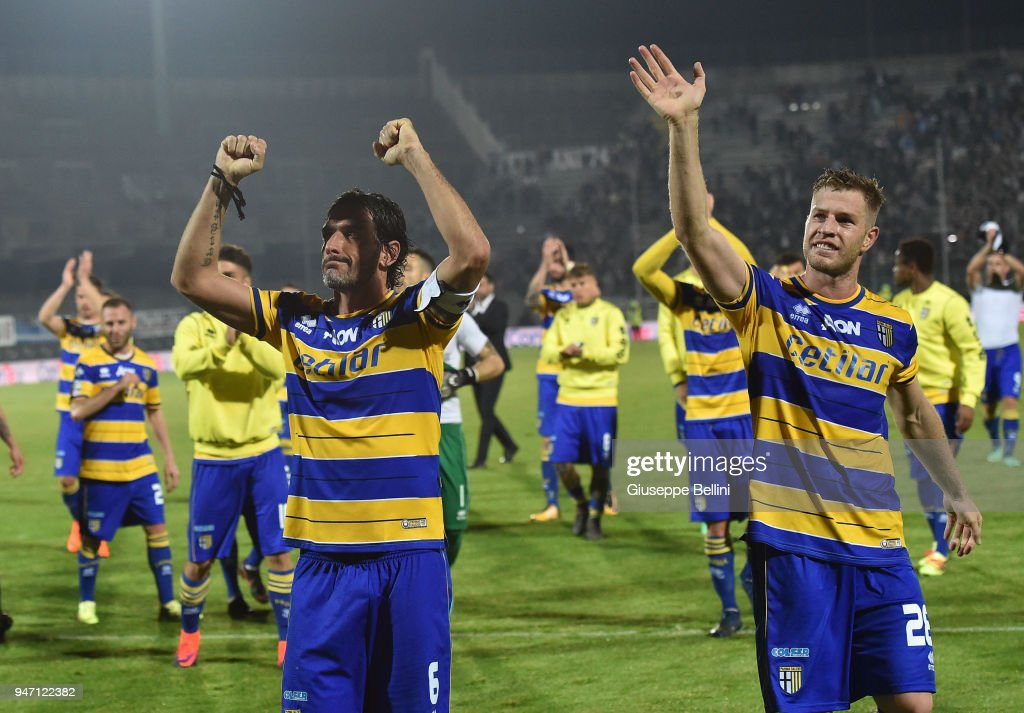 Players of Parma Calcio celebrate the victory after the match between Ascoli Picchio and Parma Calcio at Stadio Cino e Lillo Del Duca on April 16, 2018 in Ascoli Piceno, Italy.