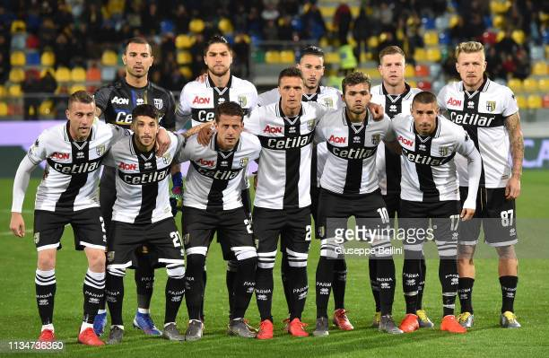 Players of Parma Calcio pose prior the Serie A match between Frosinone Calcio and Parma Calcio at Stadio Benito Stirpe on April 3 2019 in Frosinone...