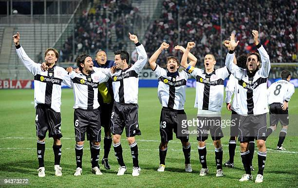 Players of Parma FC celebrate after the Serie A match between Parma and Bologna at Stadio Ennio Tardini on December 13 2009 in Parma Italy