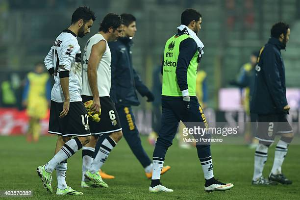 Players of Parma FC look dejected at the end of the Serie A match between Parma FC and AC Chievo Verona at Stadio Ennio Tardini on February 11 2015...