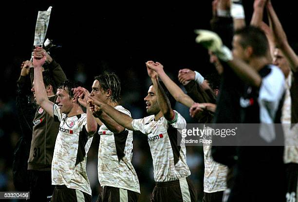 Players of Pauli celebrate winning the match after the match of the Third Bundesliga between FC St Pauli and Rot Weiss Erfurt on August 3 2005 in...