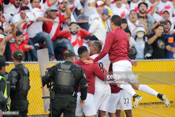 Players of Peru celebrate a goal during a match between Ecuador and Peru as part of FIFA 2018 World Cup Qualifiers at Olimpico Atahualpa Stadium on...