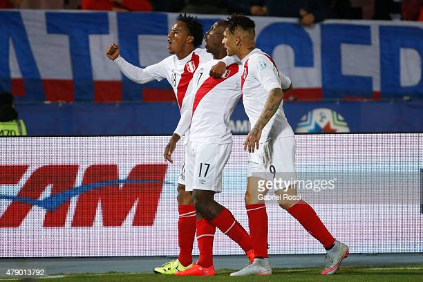 Players of Peru celebrate after Gary Medel of Chile scored an own goal during the 2015 Copa America Chile Semi Final match between Chile and Peru at...