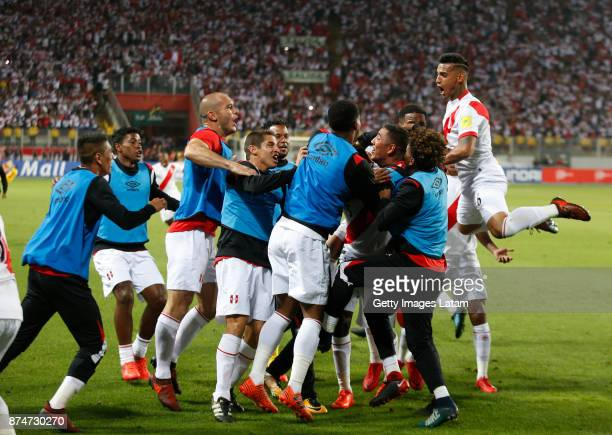 Players of Peru celebrate their second goal of his team during a second leg match between Peru and New Zealand as part of the 2018 FIFA World Cup...