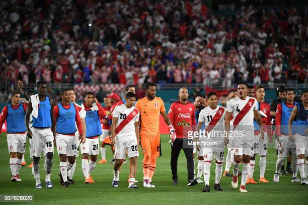 Players of Peru leave the field after winning the international friendly match between Peru and Croatia at Hard Rock Stadium on March 23 2018 in...