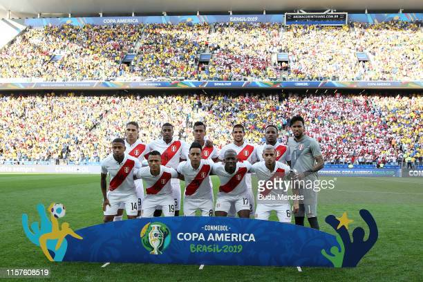 Players of Peru line up prior to the Copa America Brazil 2019 group A match between Peru and Brazil at Arena Corinthians on June 22, 2019 in Sao...