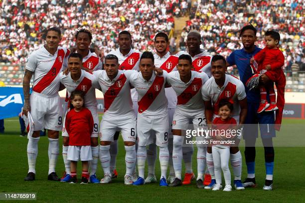 Players of Peru pose for a team photo prior a friendly match between Peru and Colombia at Estadio Nacional de Lima on June 9, 2019 in Lima, Peru.