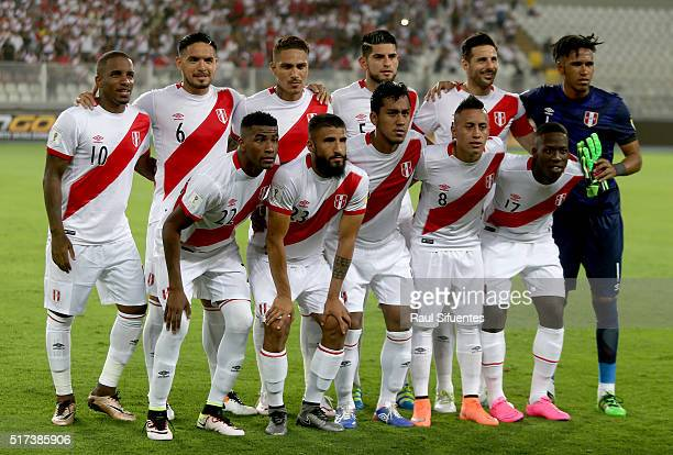 Players of Peru pose for a team photo prior a match between Peru and Venezuela as part of FIFA 2018 World Cup Qualifiers at Nacional Stadium on March...