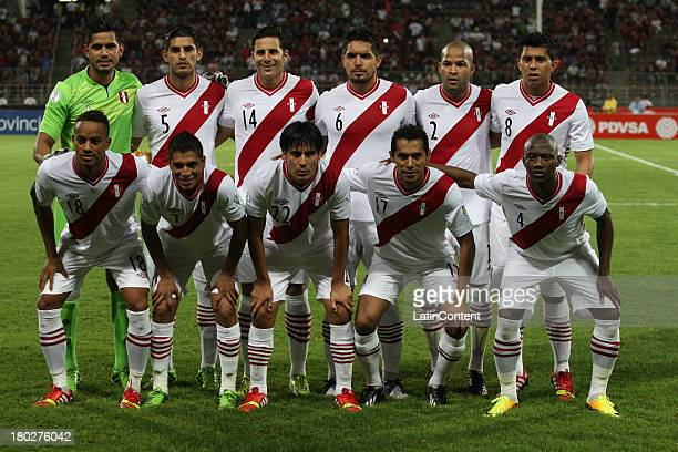 Players of Peru pose for a team photo prior a match between Venezuela and Peru as part of the 16th round of the South American Qualifiers at Olimpico...