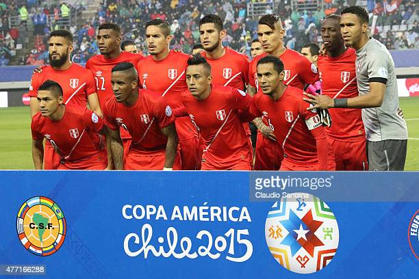Players of Peru pose for a team photo prior the 2015 Copa America Chile Group C match between Brazil and Peru at Municipal Bicentenario Germán Becker...