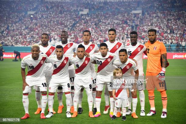 Players of Peru pose prior the international friendly match between Peru and Croatia at Hard Rock Stadium on March 23 2018 in Miami Gardens Florida