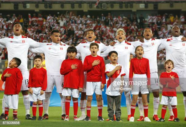 Players of Peru sing their national anthem prior a second leg match between Peru and New Zealand as part of the 2018 FIFA World Cup Qualifier Playoff...