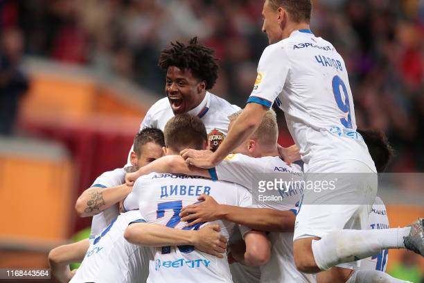 Players of PFC CSKA Moscow celebrate a goal during the Russian Football League match between FC Tambov and PFC CSKA Moscow on September 15, 2019 in...
