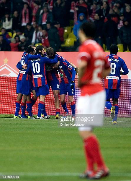 Players of PFC CSKA Moscow celebrate after scoring a goal during the Russian Football League Championship match between FC Spartak Moscow and PFC...