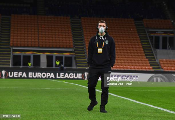Players of PFC Ludogorets Razgrad wear protective face masks as a safety measure against the COVID19 novel coronavirus during the UEFA Europa League...