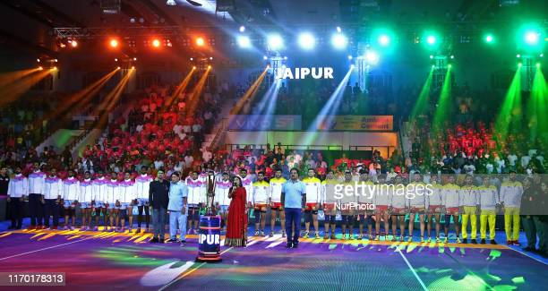 Players of Pink Panthers and Gujarat Fortune Giants during the Pro Kabaddi League match at SMS Indoor Stadium in Jaipur,Rajasthan, India Saturday,...