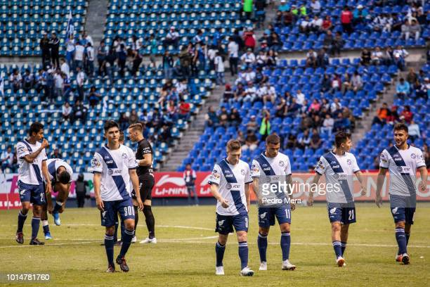 Players of Piuebla react after the 4th round match between Puebla and Veracruz as part of the Torneo Apertura 2018 Liga MX at Estadio Cuauhtemoc on...