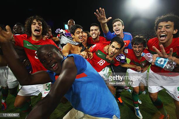 Players of Portugal celebrate after the FIFA U20 World Cup 2011 semi final match between France and Portugal at Estadio Atanasio Girardot on August...