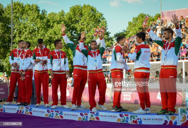 Players of Portugal celebrate in podium after winning the Silver medal during day 7 of Buenos Aires 2018 Youth Olympic Games at Green Park on October...