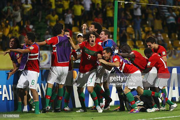 Players of Portugal celebrates after the FIFA U20 World Cup 2011 quarter final match between Portugal and Argentina at Estadia Jaime Moron Leon on...