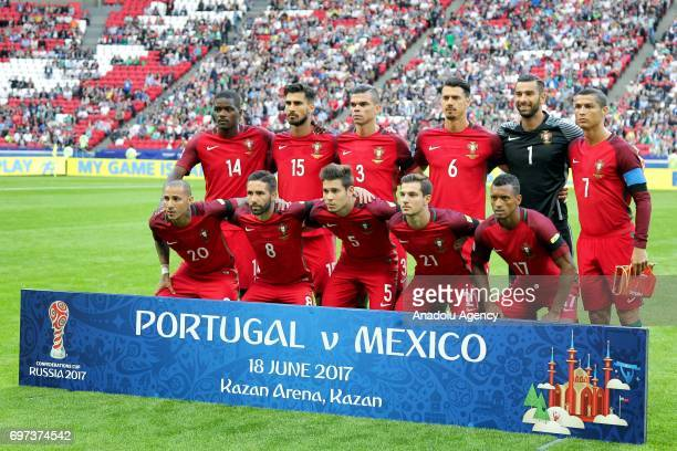 Players of Portugal pose for a photo ahead of the FIFA Confederations Cup 2017 group A soccer match between Portugal and Mexico at 'KazanArena'...