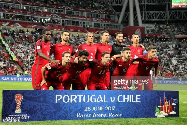 Players of Portugal pose for a photo before of the FIFA Confederations Cup 2017 Semifinal soccer match between Portugal and Chile at 'KazanArena'...