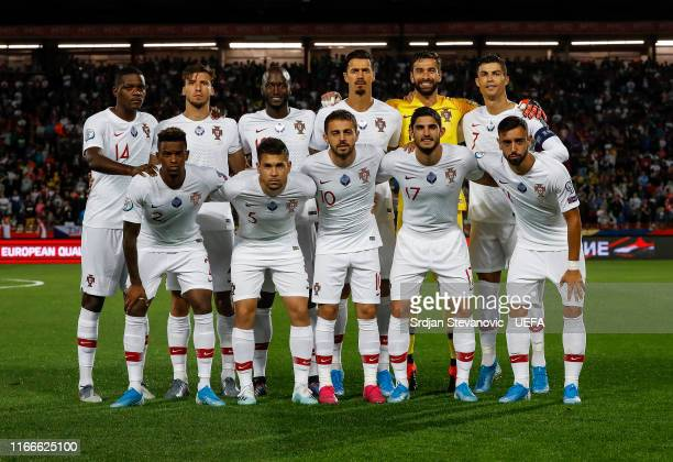 Players of Portugal pose for a photo prior to the UEFA Euro 2020 qualifier between Serbia and Portugal at Stadium Crvena Zvezda on September 7, 2019...
