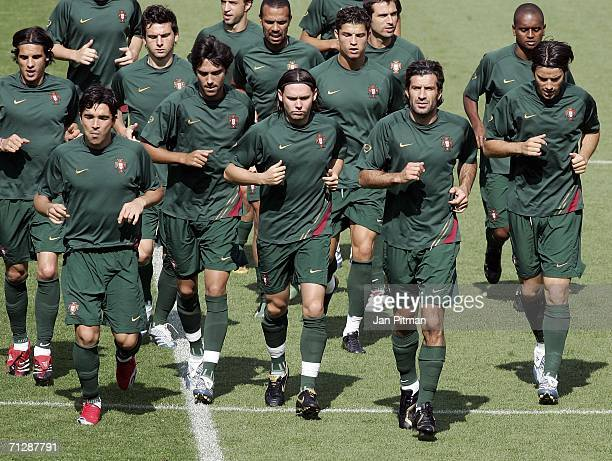 Players of Portugal run during a training session in the FIFA World Cup Stadium Nuremberg on June 24, 2006 in Nuremberg, Germany. Portugal plays the...