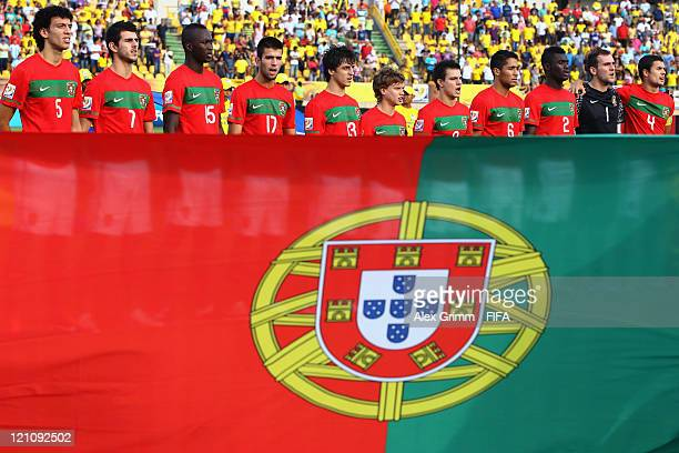 Players of Portugal sing their national anthem before the FIFA U20 World Cup 2011 quarter final match between Portugal and Argentina at Estadia Jaime...