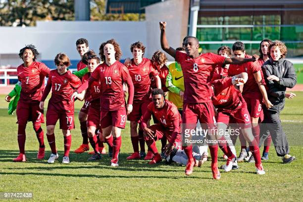 Players of Portugal U16 celebrate their victory of the tournament after the final penalties against Germany U16 during UEFA Development Tournament...