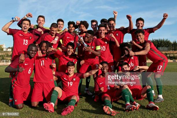 Players of Portugal U17 celebrate their victory with the cup at the end of the U17Juniors Algarve Cup match between U17 Portugal and U17 Germany at...