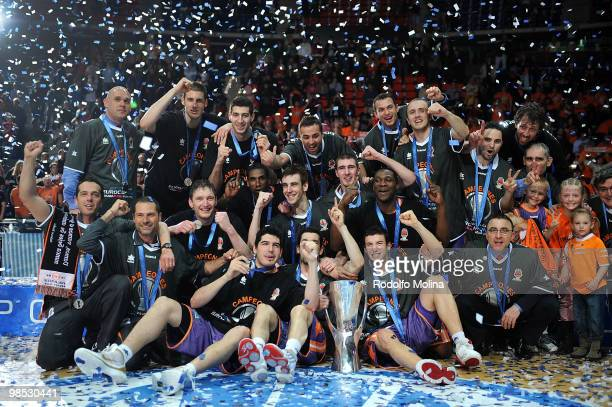 Players of Power Electronics Valencia celebrate at the Champion Award Ceremony at Fernando Buesa Arena on April 18 2010 in VitoriaGasteiz Spain