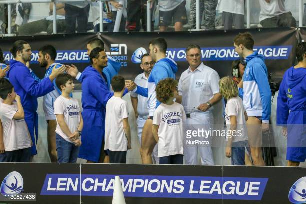 Players of Pro Recco and Brceloneta before the Champions League water polo match on march 15 2019 at Piscina Monumentale in Turin Italy Pro Recco won...