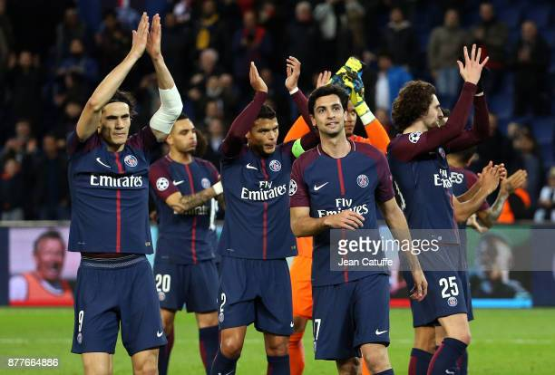 Players of PSG celebrate their large victory following the UEFA Champions League group B match between Paris SaintGermain and Celtic FC at Parc des...