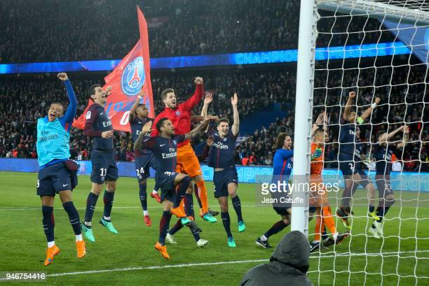 Players of PSG celebrate winning the French Championship following the Ligue 1 match between Paris Saint Germain and AS Monaco at Parc des Princes...