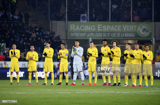 Players of PSG during the French Ligue 1 match between RC Strasbourg Alsace and Paris Saint Germain at Stade de la Meinau on December 2 2017 in...