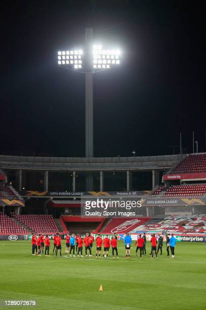 Players of PSV Eindhoven during a talk prior the training session ahead of the UEFA Europa League Group E stage match between PSV Eindhoven and...