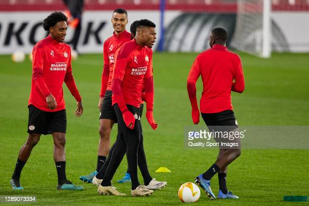 Players of PSV Eindhoven during training session ahead of the UEFA Europa League Group E stage match between PSV Eindhoven and Granada CF at Estadio...