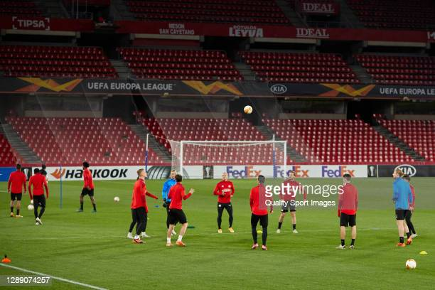 Players of PSV Eindhoven in action during training session ahead of the UEFA Europa League Group E stage match between PSV Eindhoven and Granada CF...